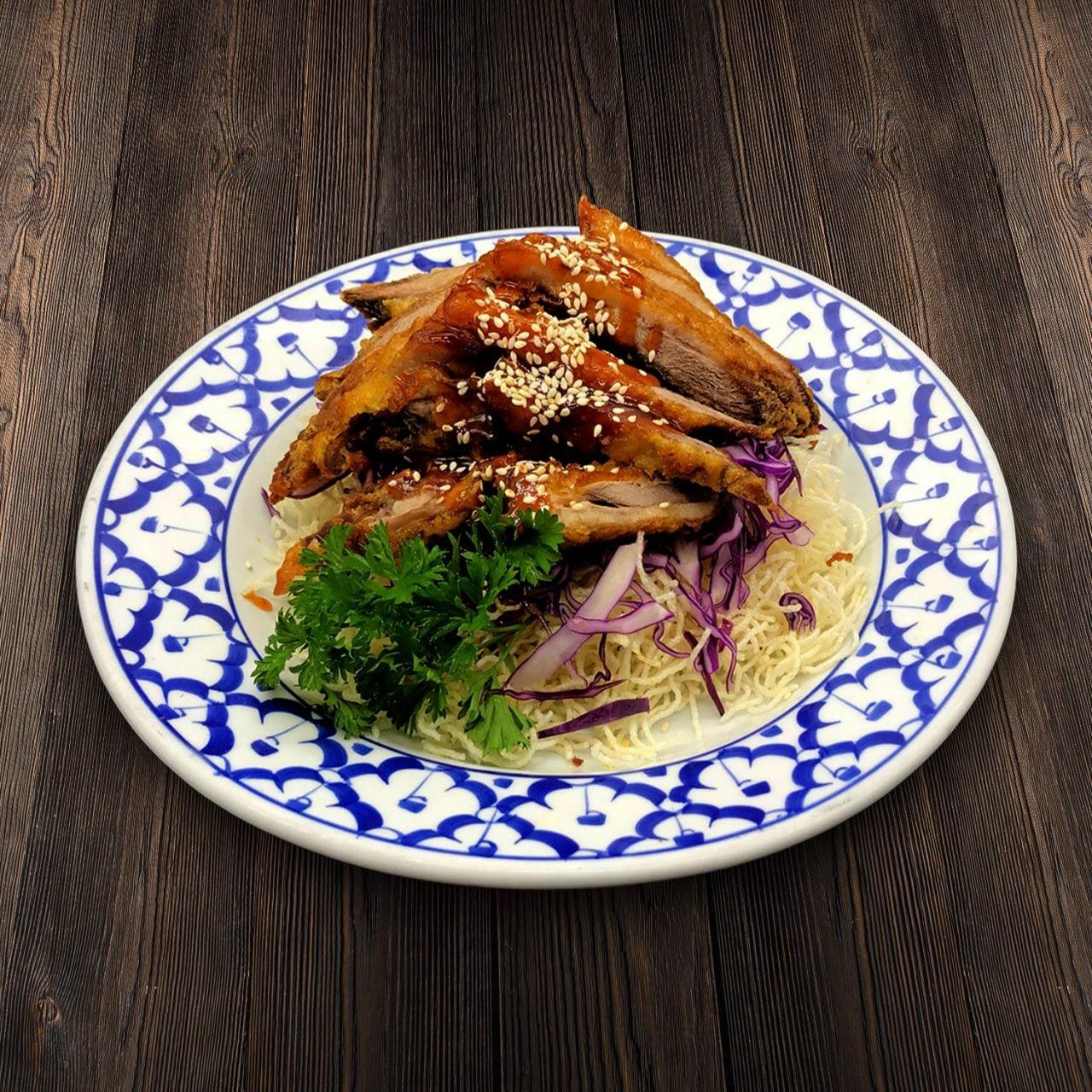 Thai Food Delivery Kuala Lumpur Crispy Duck with Crispy Rice Vernicelli