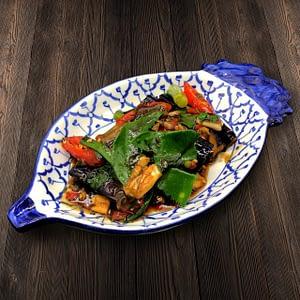 Thai Food Delivery Kuala Lumpur Stir Fried Brinjal with Basil Leaf-min